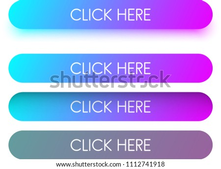Bright blue and purple spectrum click here web buttons isolated on white background. Vector illustration. #1112741918