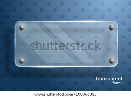 Bright blue background with clear glass frame