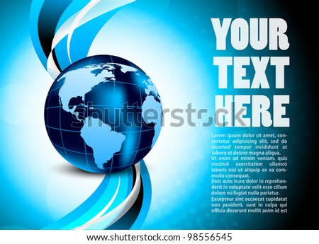 Bright blue background with globe and wave