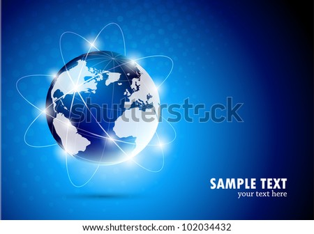 Bright blue background with  globe. 