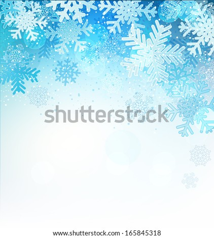Bright blue background with snowflakes, vector illustration