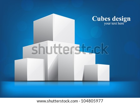 Bright blue background with white 3d cubes