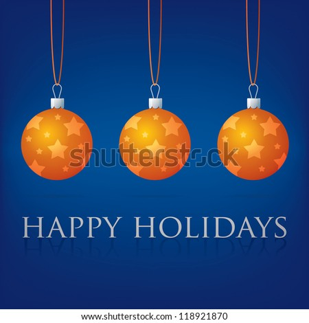 Bright blue Happy Holidays bauble card in vector format.