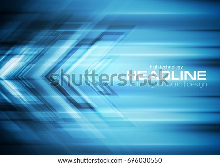 Bright blue tech background with arrows and stripes. Vector design