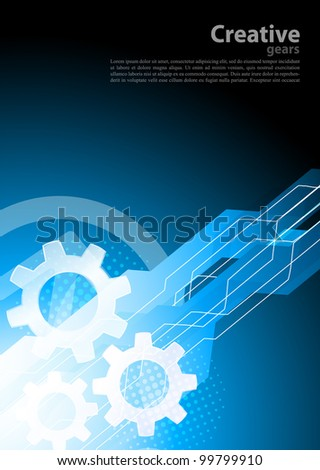 Bright blue tech background with gears - stock vector