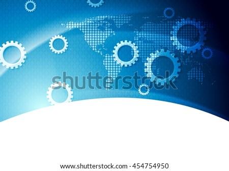 Blue world map in wavy style vector descargue grficos y vectores bright blue technology background with gears and dotted world map vector illustration gumiabroncs Images