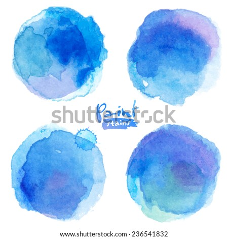 bright blue watercolor painted
