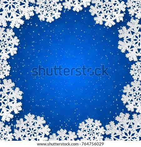 Bright blue winter square frame with paper cut out snowflake decoration. Vector illustration