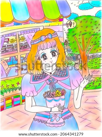 Bright Brunette Shoujo Anime Manga Style Young Girl with Bouquet and Waving Outside Ice-Cream Eatery Shop Cartoon Illustration