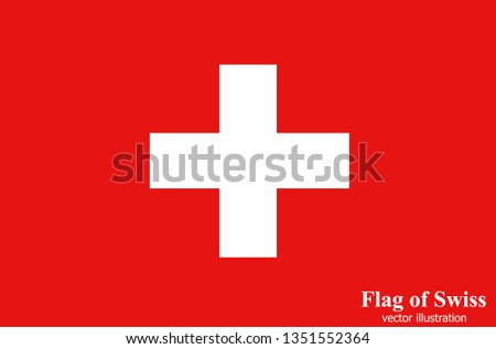 Bright button with flag of Swiss. Swiss National Day background. Bright illustration with flag . Vector.