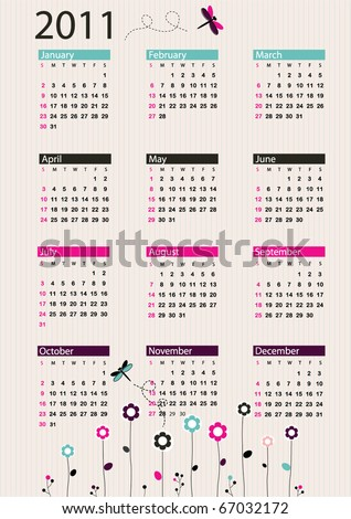 Bright calendar 2011 with flowers and dragonflies