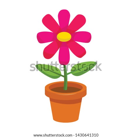 Bright cartoon flower in the pot in flat style isolated on white background. Vector illustration.  Stock photo ©