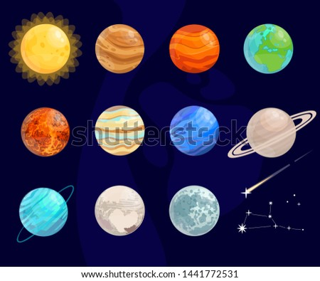 Bright, cartoon planets. Vector isolated objects.