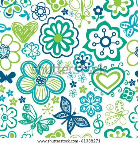 Bright cartoon seamless pattern with flowers and butterflies