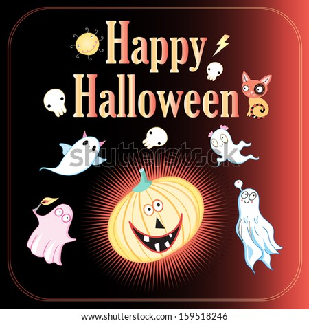 bright cheerful greeting card Halloween with ghosts and pumpkins on a dark background  #159518246