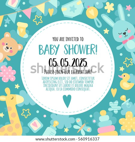 Bright, cheerful invitation to baby shower  party. Template invitation to a children's party for boys.