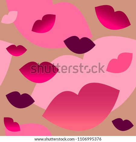 Bright cherry lips on a bronze background. Silhouette lips.