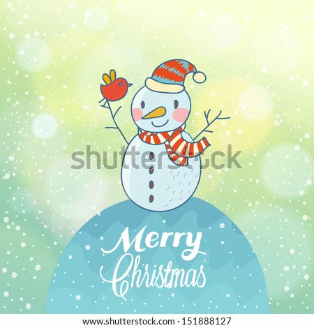 d0febe40c8d8e Bright Christmas and New Year card with funny Snowman on stylish background  with bokeh effect in