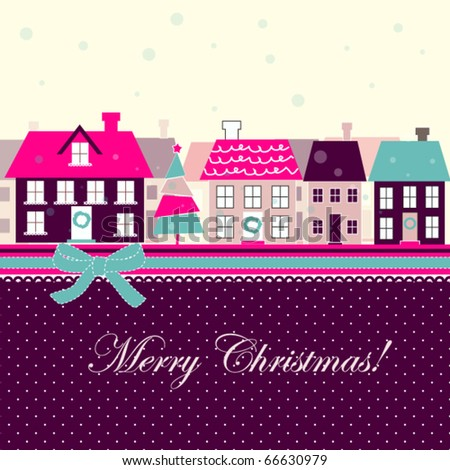 Bright Christmas card with houses and tree - stock vector