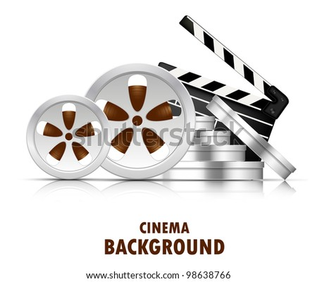 Bright cinema background with stack of film reel