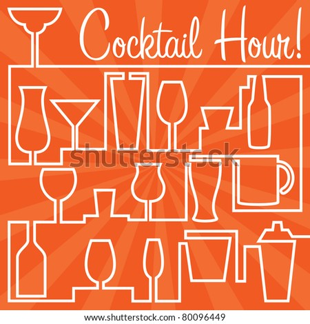 Bright Cocktail Hour Card in vector format.
