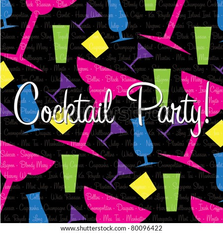 Bright cocktail Invitation card in vector format.