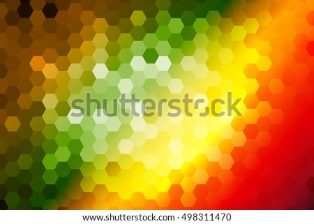 bright color hexagon background. green, orange, yellow tone. vector illustration. for design poster, banner template