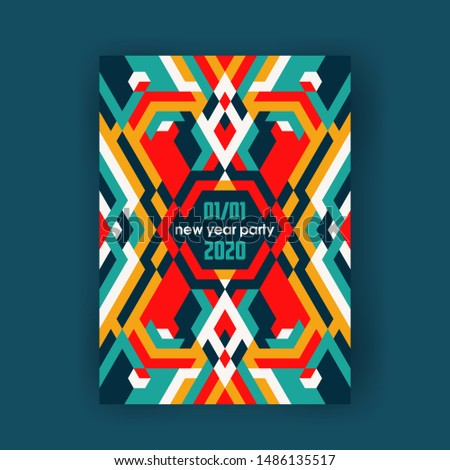 Bright color ornamental abstract poster design, modern vector vertical A4 banner.