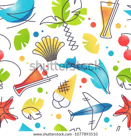 Bright color summer and tropical beach vacations seamless background.
