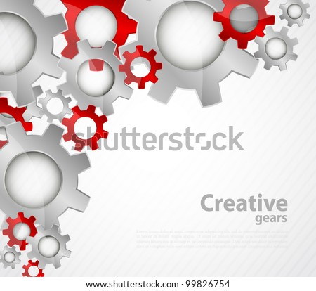 Bright color tech background with gears