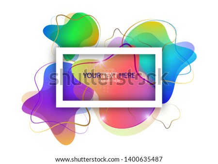Bright colored abstract dynamic fluid shapes, geometric shapes from stripes on a white background. Screensaver shape design, trendy template. Vector illustration