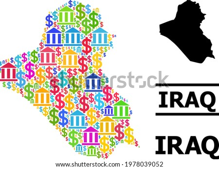 Bright colored bank and commercial mosaic and solid map of Iraq. Map of Iraq vector mosaic for geographic campaigns and agitprop. Map of Iraq is created with bright colored bank and dollar particles.
