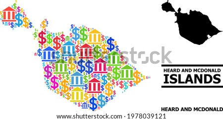 Bright colored bank and dollar mosaic and solid map of Heard and McDonald Islands. Map of Heard and McDonald Islands vector mosaic for business campaigns and agitation.