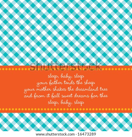 Bright colored birth announcement or greeting card with vichy background and baby lullaby