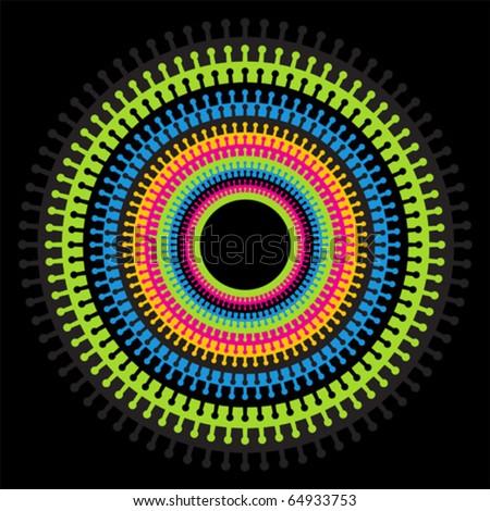 Bright-colored crochet-like decoration element