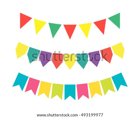 Bright colored garlands of oatmeal on a white background. flat vector illustration.