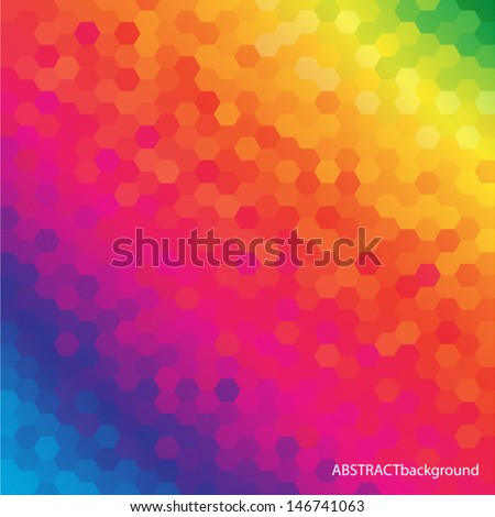 Bright Colored Hexagonal Honeycomb Abstract Background - Vector EPS10