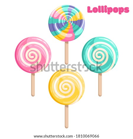 Bright colored lollipop. Sweet dessert for kids. Candy on a stick. Rainbow, pink, blue, yellow spiral ball. Isolated cartoon illustration Сток-фото ©