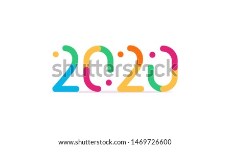 Bright colored 2020 numbers, modern event decoration, design elements for new year decor, invitation or greeting card. Candy kids style typography. Fun new year logo. Colored emblem concept.
