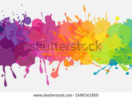 Bright colorful banner. Vector horizontal banner with colorful paint stains and splatters. Vibrant and colorful banner template. Сток-фото ©