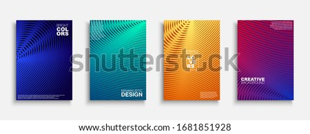 Bright colorful creative covers, templates, posters, placards, brochures, banners, flyers and etc. Striped geometric halftone backgrounds with gradient. Digital vibrant tredny design.