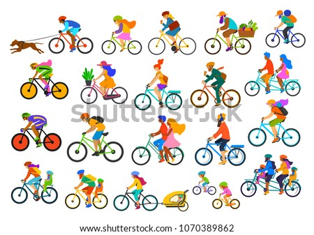 bright colorful different active people riding bikes collection, man woman couples family friends children cycle to office work, travel, bicyle trailer sport, mountain biking, city drive, leisure set