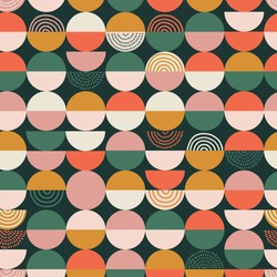 Bright colorful geometry seamless pattern. Vector abstract colored blocks shapes on white background.