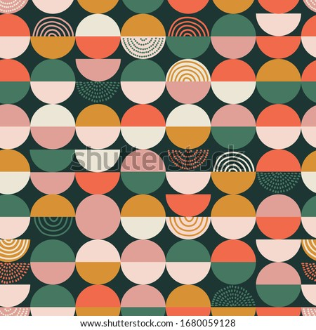 Bright colorful geometry seamless pattern. Vector abstract colored blocks shapes on white background. Stock photo ©
