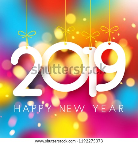 Bright colorful 2019 Happy New Year poster. Vector background.