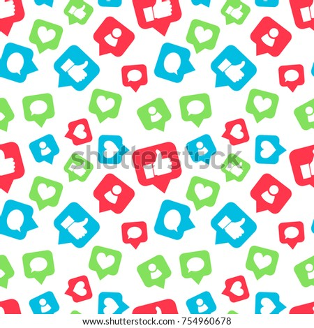 Bright colorful icons of social networks, likes friends and comments piktogram on white, seamless pattern