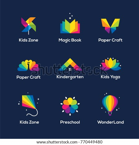 bright colorful icons set with