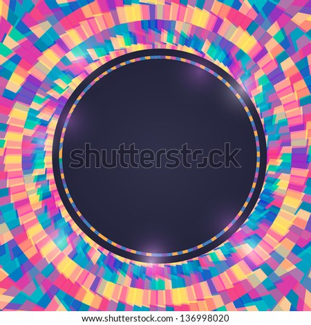 Bright Colorful Invitation Card with Round Label. Vector Illustration
