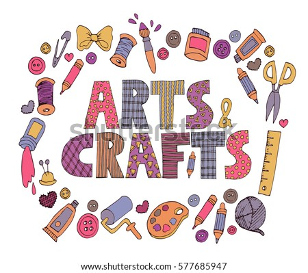 Bright colorful  patchwork 'Arts and crafts' text  with set of doodle art icons. Сток-фото ©