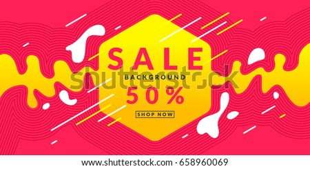 Bright colorful poster Sale 50 percent with dynamic waves and splashes. Vector illustration in flat style